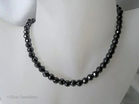 Faceted Hematite Bead Sterling Silver Slim Necklace